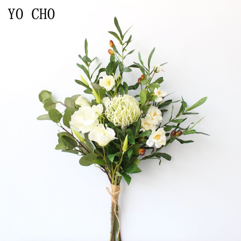 YO CHO Bride Wedding Bouquet Artificial Silk Rose Flower Bouquet White Red Wedding Supplies Hydrangea Orchid Azalea Olive Leaves