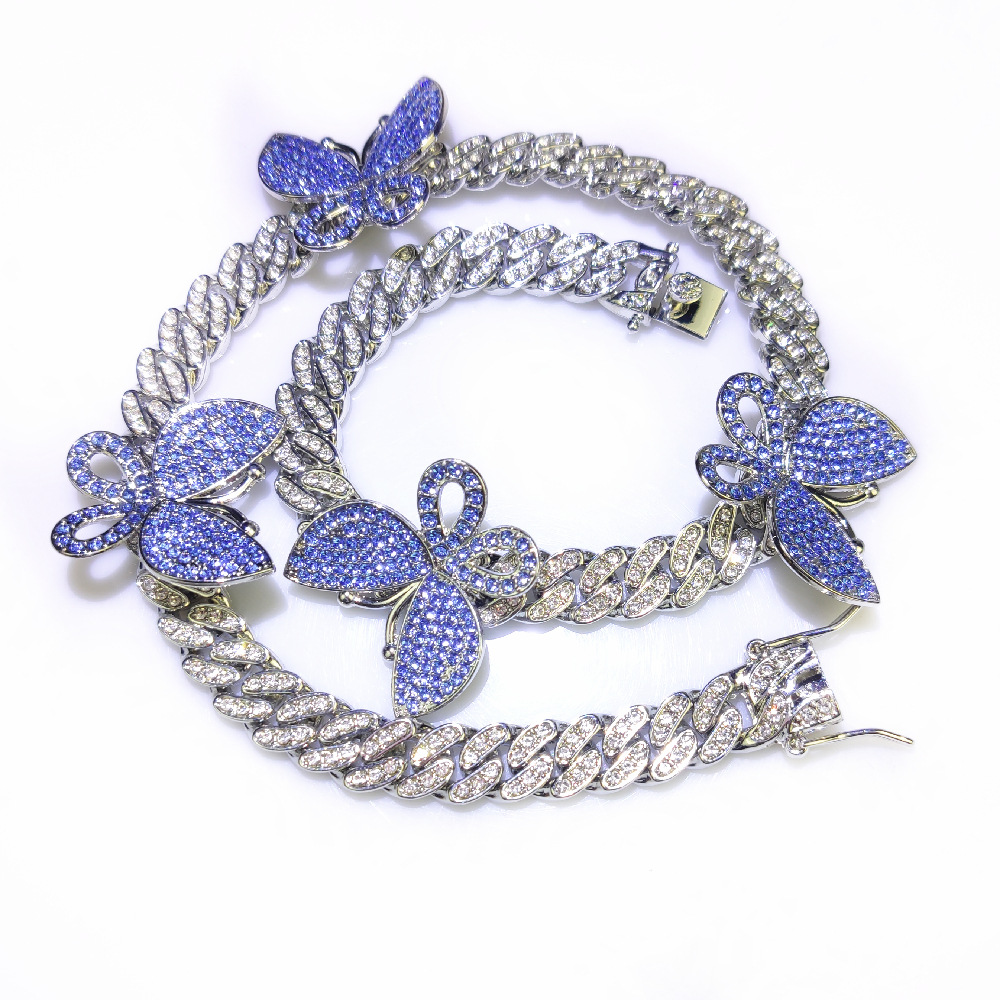 Butterfly necklace 12mm Iced out bling necklace CZ Miami Cuban link chain necklace 3D Butterfly Choker Hip hop jewellery