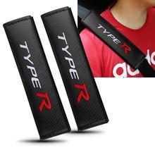 Carbon Fiber TYPE R Emblem Seat Belt Shoulder Protection Cushion For Honda Civic Accord CR-V XR-V HR-V Interior Auto Accessories
