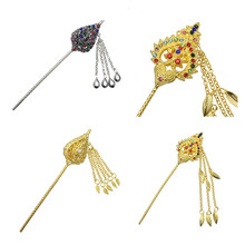 Vintage Chinese Alloy Crystal Hair Stick Pin Tassel Beads Cosplay Jewelry 17cm(China)