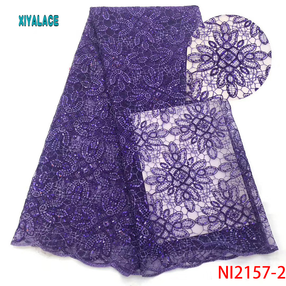 Purple Color Nigerian Mesh Lace Sequins Lace Fabrics African Lace Fabric For Wedding Party Dresses Sequence Lace Fabric YANI2157