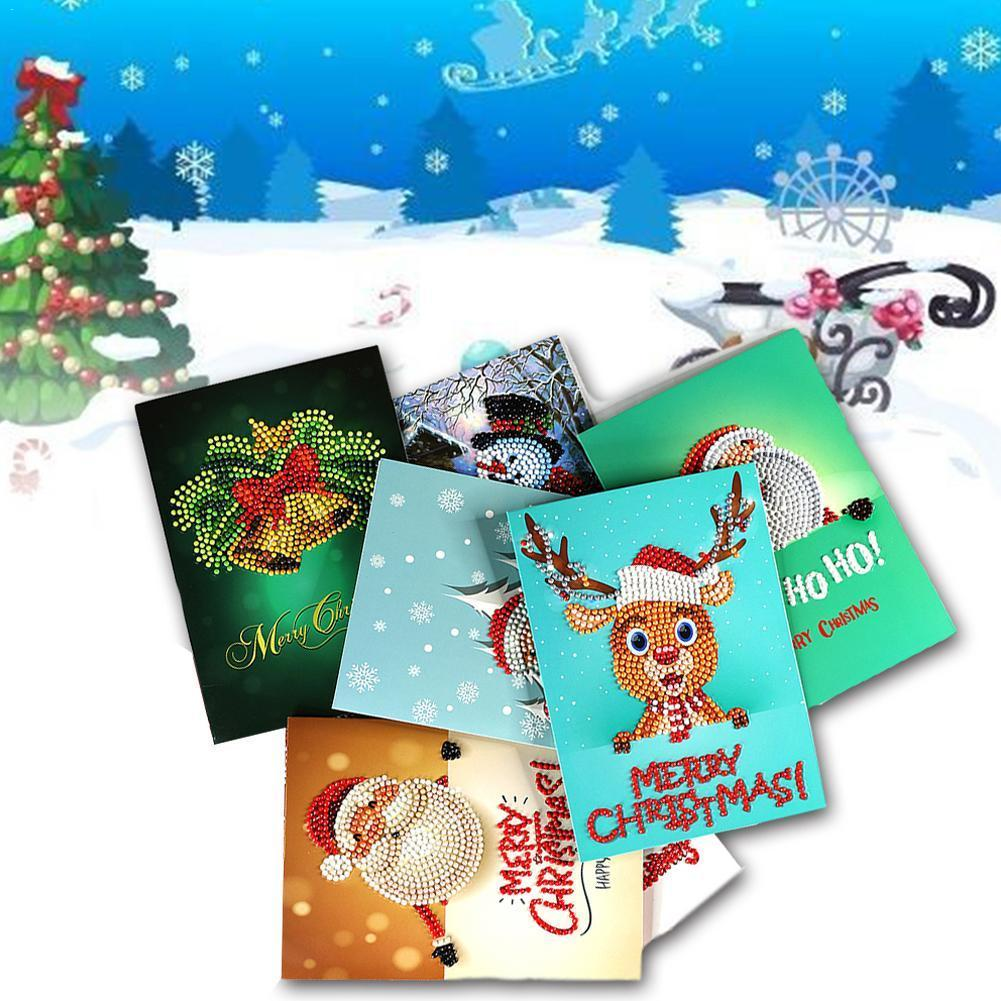 5D DIY Diamond Painting Greeting Card Special-shaped Craft Card Postcards Christmas S Claus Birthday Santa Festival Gift Xm V2M4