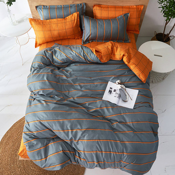 Gray and orange stripe Duvet Cover flat bed Sheets +Pillowcase King Queen full Twin Bedding Set Bedding Set 4pcs bedclothes new