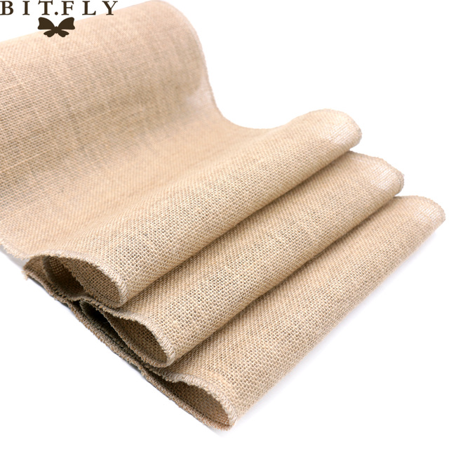 1pcs Natural Hessian Jute Burlap Table Runner   Wedding Stand Arch Chair Sashes Decoration Birthday Banquet Event Party Supply