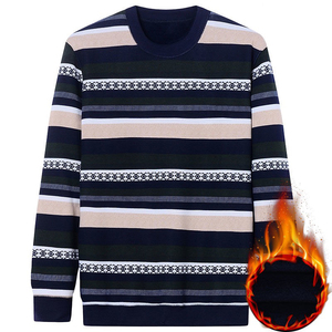 Image 4 - NIGRITY Autumn Winter New Mens Casual Knit Sweaters Plus Velvet Sweater Flannel New Pullovers Spandex O Neck Male Brand Clothes