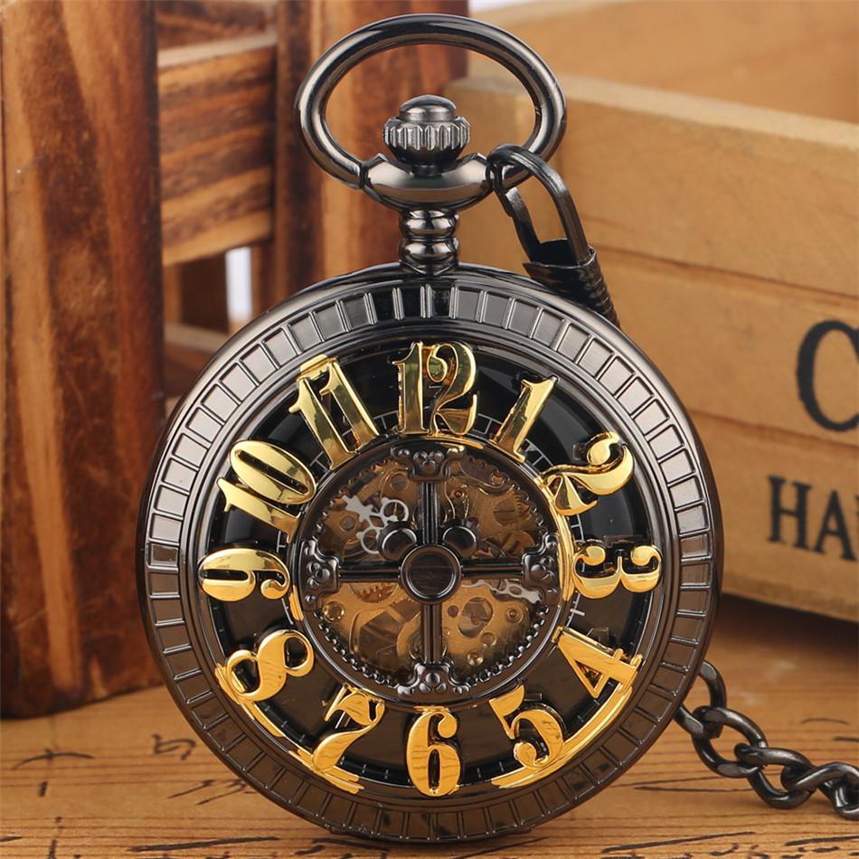 Self Winding Mechanical Pocket Watch Black/ Green Arabic Numerals Dial Automatic Pocket Clock Steampunk Pendant Watch Gift
