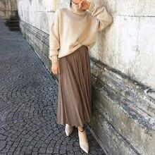 цена на Elegant Ladies Pleated Skirts New Fashion Women High Waist Plaid Midi Skirt Casual Empire Mid-Calf Khaki Summer Shirts Big Size