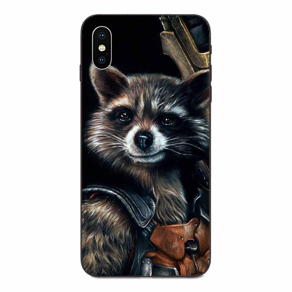 Soft TPU Cellphone Black Raccoon Art Print Lovely For Xiaomi Redmi Note 3 3S 4 4A 4X 5 5A 6 6A 7 7A K20 Plus Pro S2 Y2 Y3