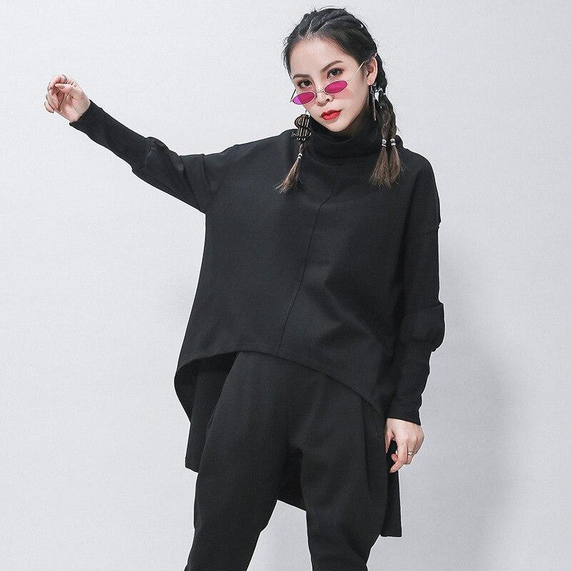 [EAM] Loose Fit Black Irregular Sweatshirt New Turtleneck Long Sleeve Women Big Size Fashion Tide Spring Autumn 2020 1Z320 4