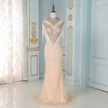 YQLNNE robe de soirée de forme sirène, luxueuse tenue de soirée, col haut, couleur chair, à franges, cristaux argentés, perles, haut de gamme