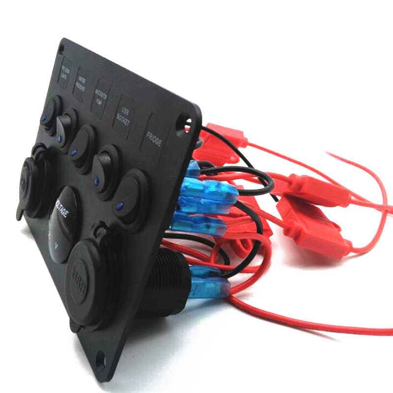 Lighter Switch Panel Socket Dual USB DC 12V/24V 5V 2.1A+2.1A Voltage Digital Car Blue Cigarette Boat