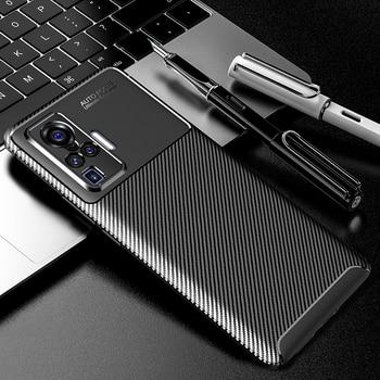 Перейти на Алиэкспресс и купить Чехол для телефона VIVO X50 Pro, чехол X50, противоударный чехол из углеродного волокна, мягкий силиконовый чехол-бампер для VIVO X 50 Pro, чехол для теле...