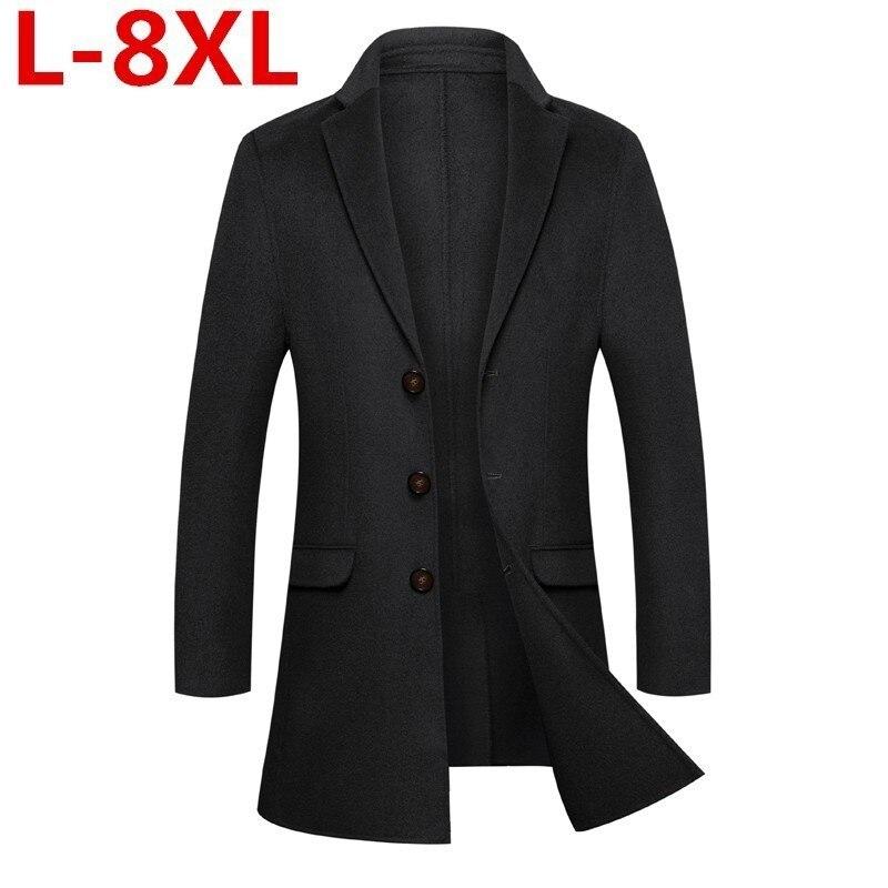 High Quality New 8XL 7X Big Size Mens Cashmere Coat Winter Jacket Homme Male Medium Long Wool Coatovercoat Leisure Wear Overcoat