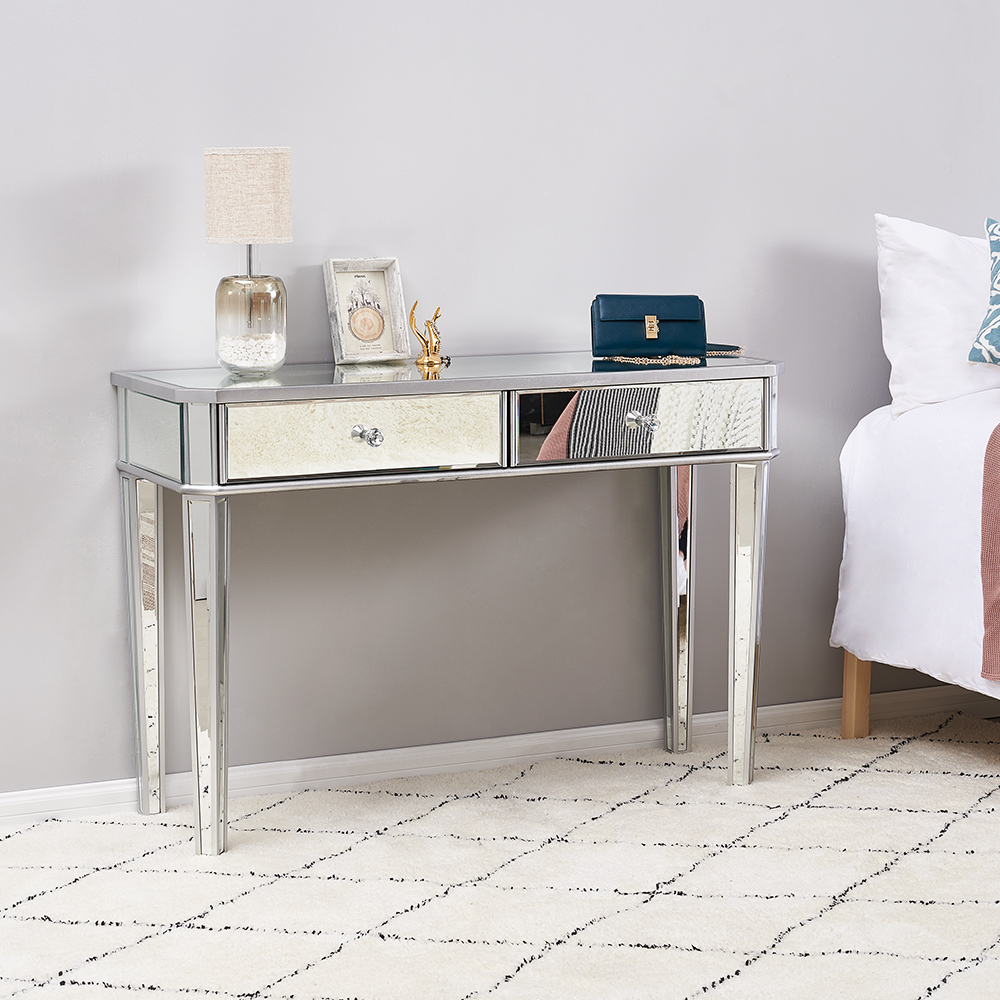 Panana High Quality Mirrored Entryway Console Glass Desk 2 Drawers Bedroom Dressing Table Livingroom Display Table