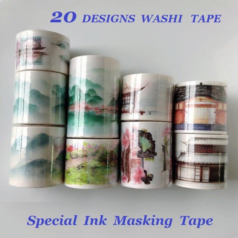 26 Designs Washi Tape Landscape Series Pagoda Planner Girls Japanese DIY Masking Paper Label Stickers Diary Scrapbooking Gift
