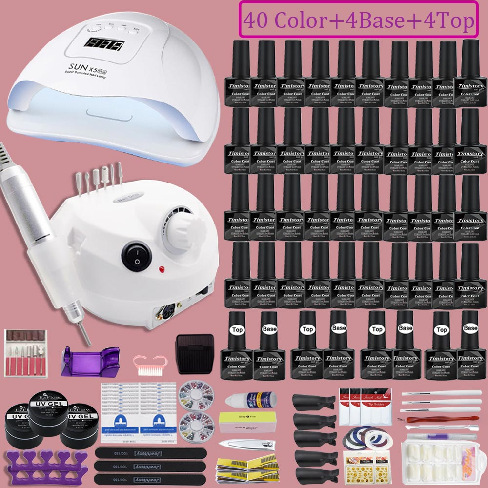 Nail-Polish Needed Manicure Electric All-Tools 40-Colors with for Fast-Drying