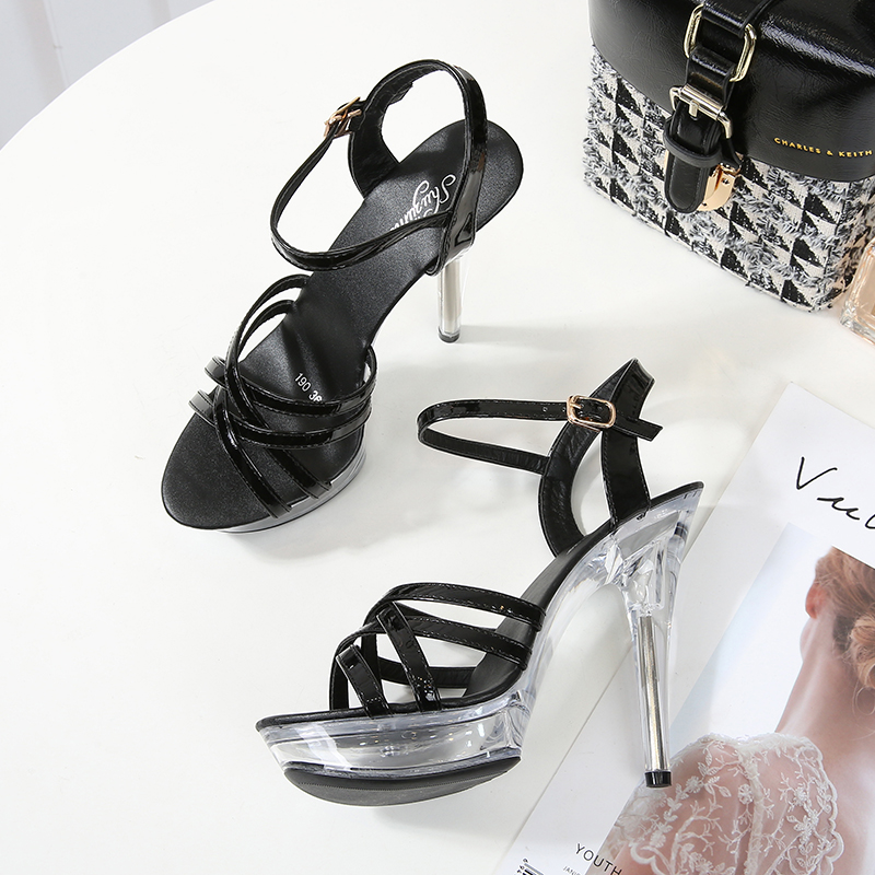 Sandals Shoes Woman Summer Ladies Sandals  Transparent High Heels 13CM Platform Shoes Open Toe Sandals Women Wedding Shoes