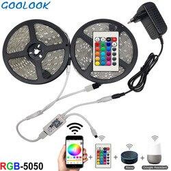 Tira de luces LED RGB resistente al agua, 5m, 10m, 15m, SMD 5050, 2835, DC12V, rgb, diodo de cadena, cinta Flexible, enchufe adaptador