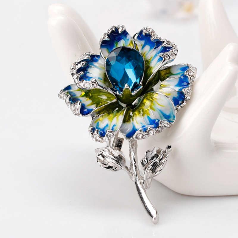 Wuli & Baby 3-Kleur Email Bloem Broches Vrouwen Legering Beauty Crystal Bloem Bruiloften Banket Broche Pins Geschenken