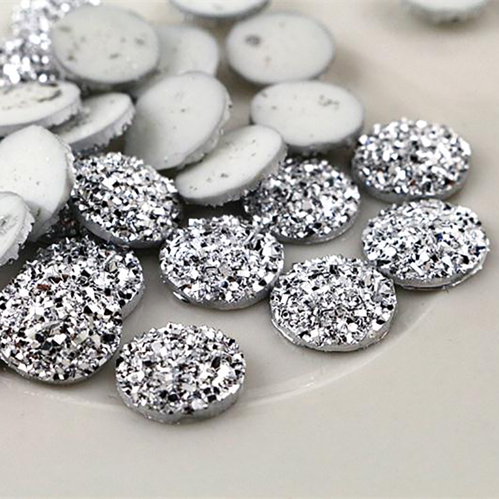 New Fashion 40pcs 12mm Silver Plated Color Flat Back Resin Cabochons Cameo  G5-08