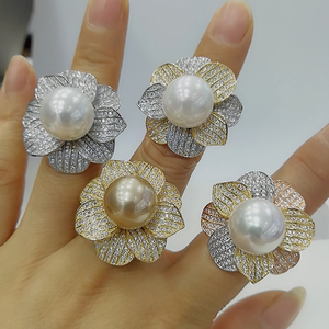 Image 1 - Godki luxo grande imitação pérola flor bold anéis de afirmação com pedras zircão 2020 festa noivado feminino jóias alta qualidade