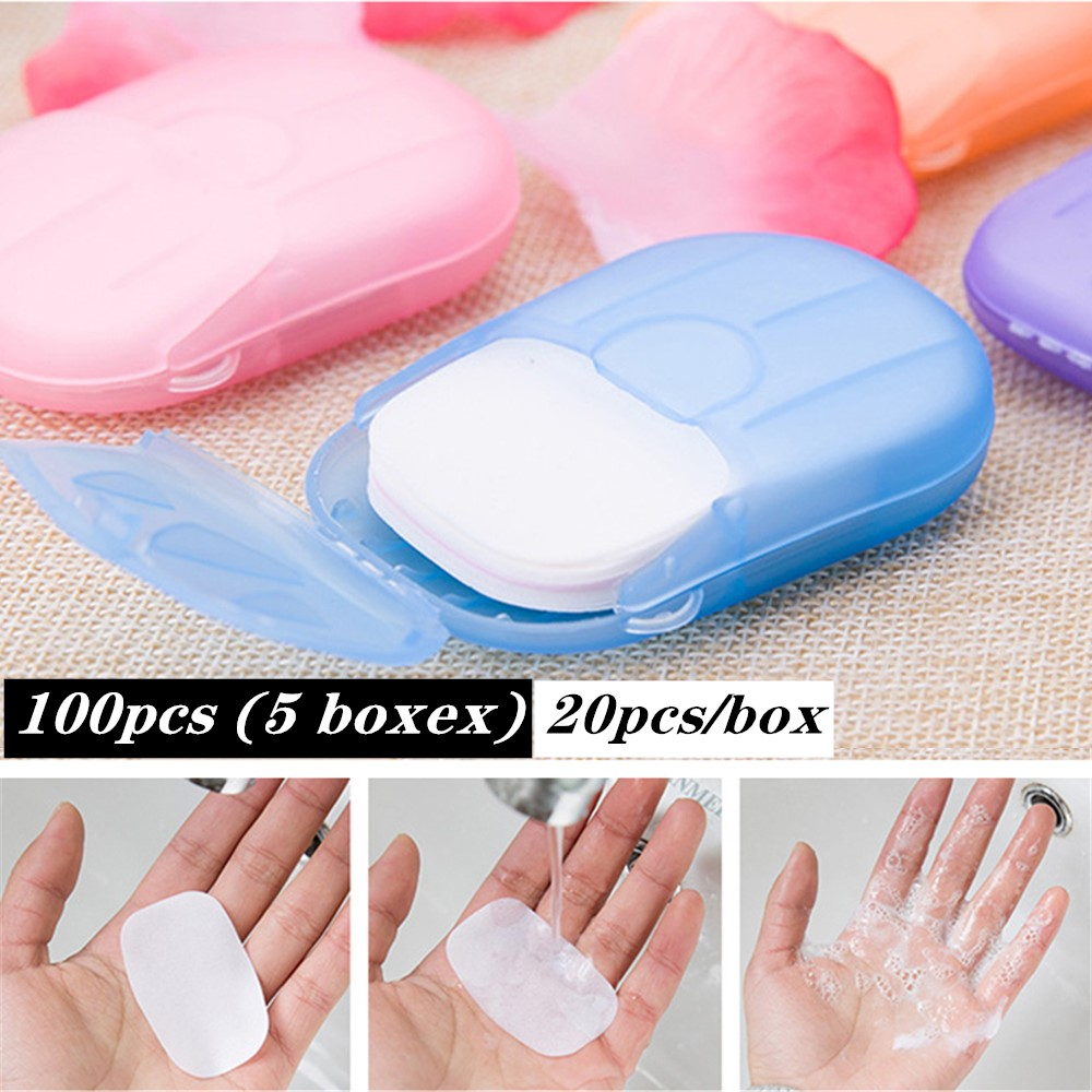 100pcs 5 Boxes Disinfecting Paper Soap Washing Hand Mini Soap Disposable Scented Slice Sheets Foaming Soap Case Paper