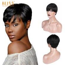 Bliss Short Wigs With Bands Pixie Cut Wig Human Hair Remy Brazilian Straight Human Hair Cheap Full Machine Made Hair Wig