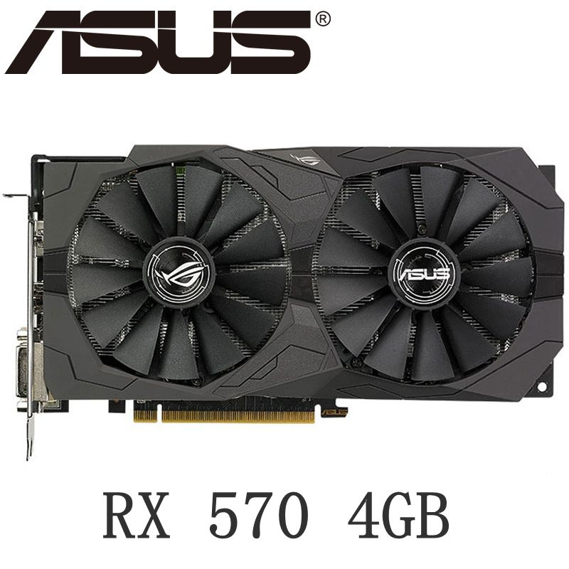 Used ASUS Video Card <font><b>RX</b></font> 570 4GB 256Bit <font><b>GDDR5</b></font> Graphics Cards for AMD <font><b>RX</b></font> 500 series VGA Cards RX570 DisplayPort HDMI DVI <font><b>580</b></font> image