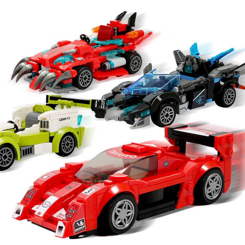 مدينة سوبر المتسابقين سيارة اللبنات متوافق LegoINGly سرعة أبطال الرياضة سباق المسار سباق سيارة كتل للأطفال هدية