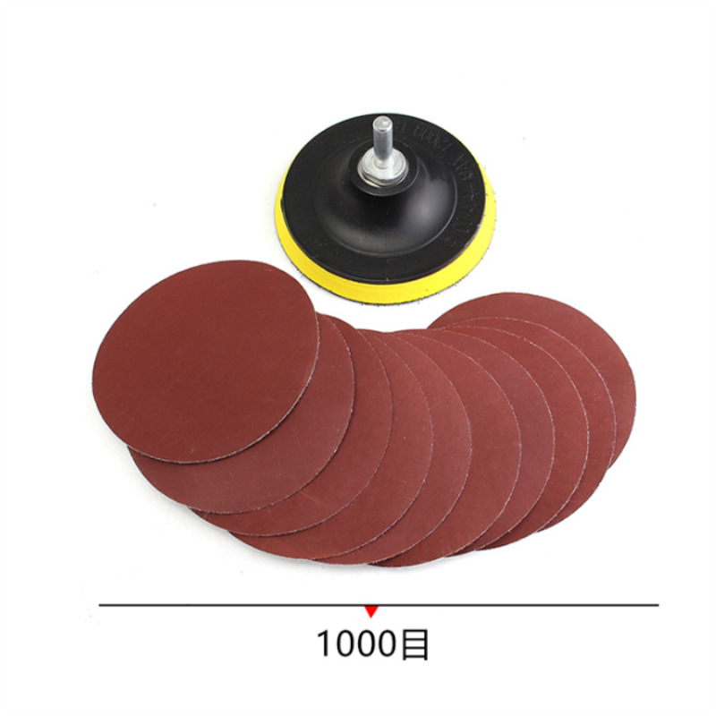 4-Inch Sandpaper Polishing Suit 12 PC 100MM Electric Clay Plate Supporting Lever Flocking Sandpaper Random Combination