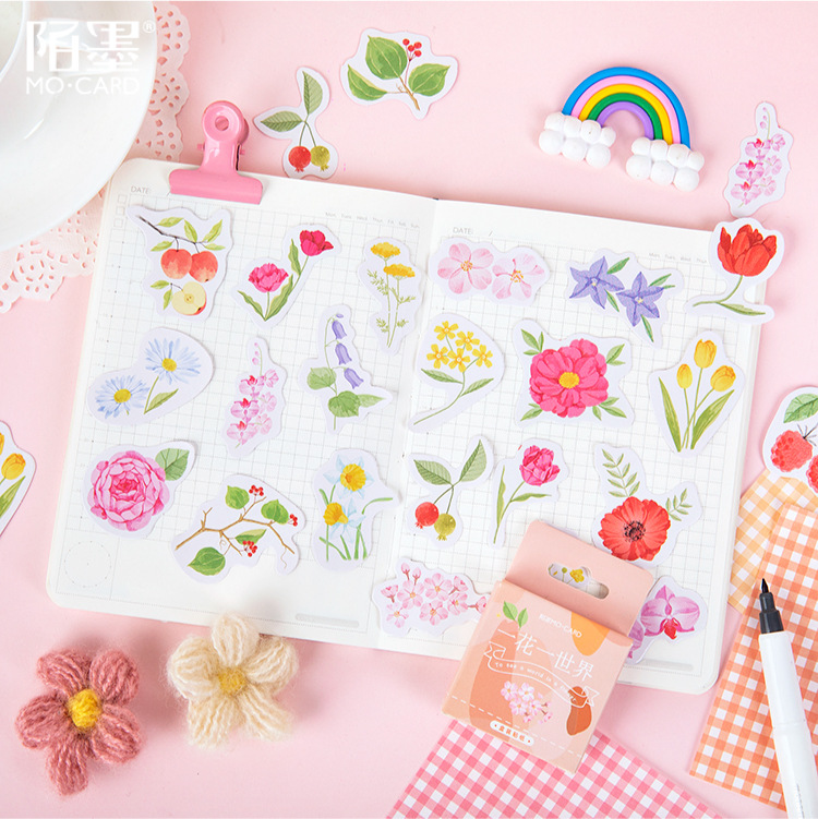 46 Pcs/pack See World In Flower Bullet Journal Decorative Stickers Adhesive Stickers DIY Decoration Diary Stationery Stickers