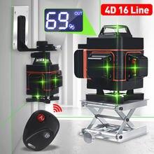 4d 16 linhas de nível laser luz verde display led auto nivelamento 360 ° rotativo medida horizontal vertical cruz controle remoto