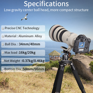 Image 2 - G34/G40 מקצועי חצובה כדור ראש נמוך פרופיל הכבידה מרכז כפול פנורמי Ballhead עם L ש. R. צלחת עבור מצלמות דיגיטליות