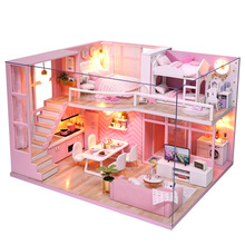 Diy Doll House Wooden Doll Houses Miniature Dollhouse Furniture Kit with Music and Dust Cover Led Toys for Children Birthday Gif цена 2017