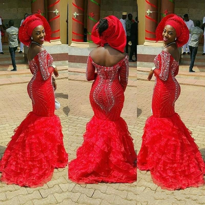 Stunning Crystal Beading   Prom     Dress   Latest Aso-Ebi-Styles Tiered Train Mermaid Evening Formal   Dress   Long Sleeves Nigerian Gowns