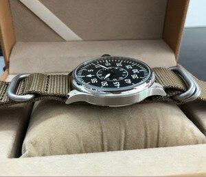 Image 4 - 44mm nie logo czarna tarcza dwie ręce azjatyckich 6497 17 klejnotów mechaniczne ręcznie nakręcany ruch mężczyzna zegarka zegarek świetlny pa173 pp8