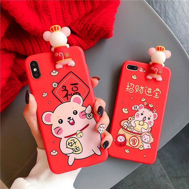 3D Cute Cartoon Lucky Rich Mouse Phone Case For iphone 11 Pro XS MAX Case XR X 10 8 7 6 6S Plus Red New Year Soft Silicone Cover