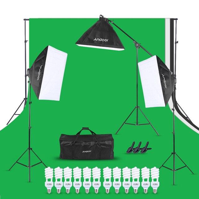 Andoer набор для фотостудии 12 Светодиодный 45 Вт, светильник для фотосъемки, комплект для фотосъемки, аксессуары для камеры и фотографии, 3 светильник, подставка, 3 софтбокса для фотосъемки