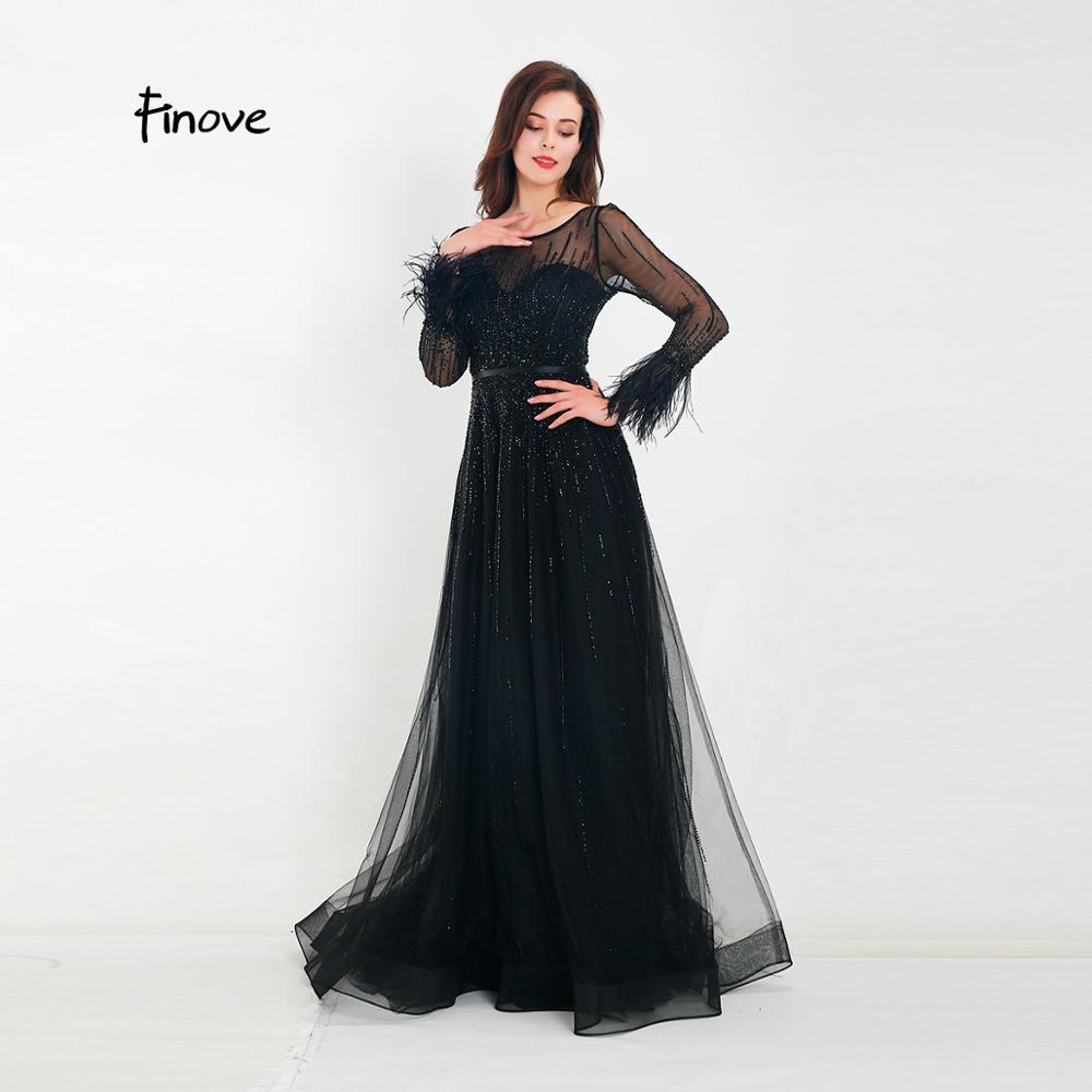 Finove Gorgeous Black Evening Dress 2020 A Line Gowns Full Sleeves Feathers Neck Line Long Floor Length Elegant Formal DressesEvening Dresses   -