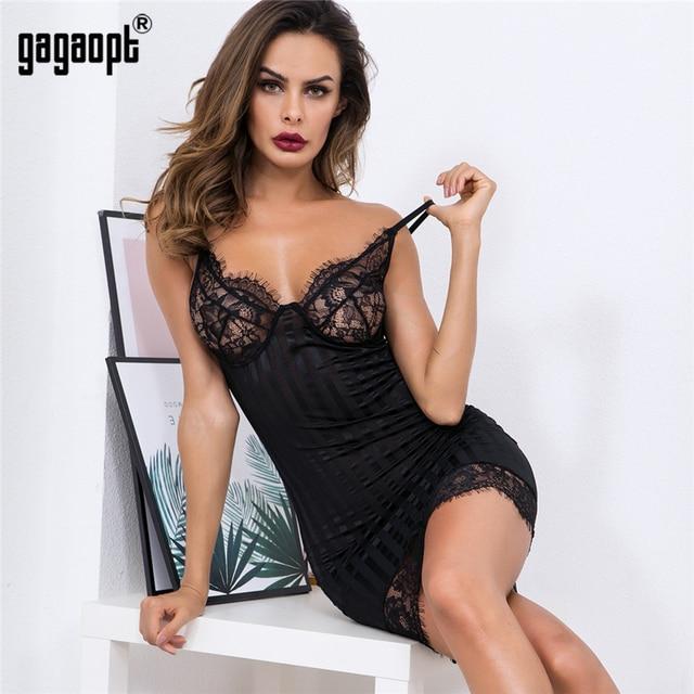 Gagaopt Women's Sexy Lace Sleepwear Pajamas Nightdress Set Night Dress with G-string Summer Sleeveless Comfortable Dresses