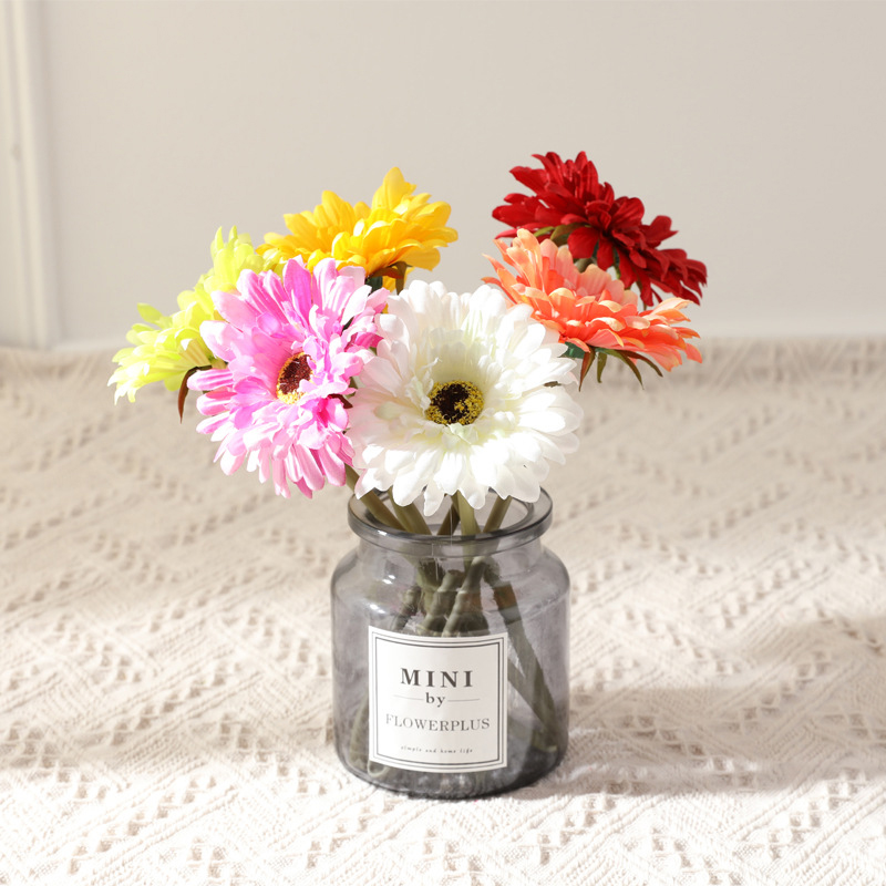 1pcs <font><b>Gerbera</b></font> Flower Flores Fleur <font><b>Artificielle</b></font> Decorative Wedding Party Festival Artificial Plants Home Decoration Accessories image