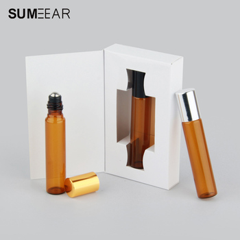 50Pieces/lot 10ml Mini Perfume Bottle Packing box amber Glass Roll On Essential Oil Vial Empty Perfume Sample Bottle 1g 99 9% zirconium metal piece s in glass vial element 40 sample