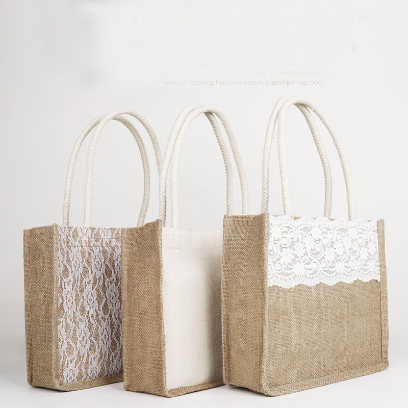 Fashion Ladies Large Capacity Natural Jute Burlap Lace Flower Eco Linen Bag Tote Shopping Bags Womens Storage Folding Handbag