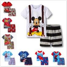 Juego de pijama para niños, ropa de dormir de manga corta con dibujos animados de Spiderman, Cars y Mickey
