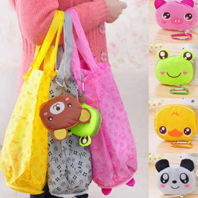 Cartoon Animal Foldable Shopping Tote Reusable Eco Folding Bag Panda Frog Pig Bear waterproof shopping bags Storage Bags