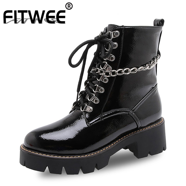 FITWEE Women Ankle Boots Rivets Patent Leather Punk Shoes Woman Warm Fur Daily Spring Woman Winter Botas Footwear Size 34-43