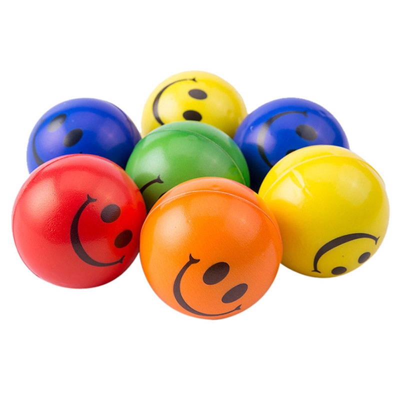 5Pcs/lot 6.3cm Smile Face Foam Ball Squeeze Stress Ball Relief Toy Hand Wrist Exercise PU Toy Balls For Children