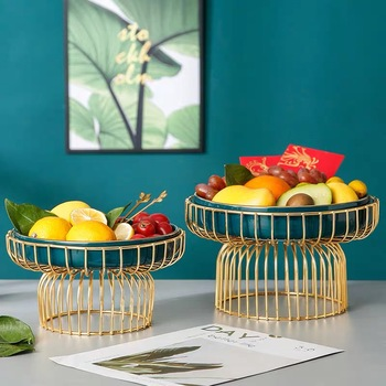 Luxury Iron Ceramic Fruit tray with Stand Living room Food Serving Home Decoration Candy Snack Plate Stand