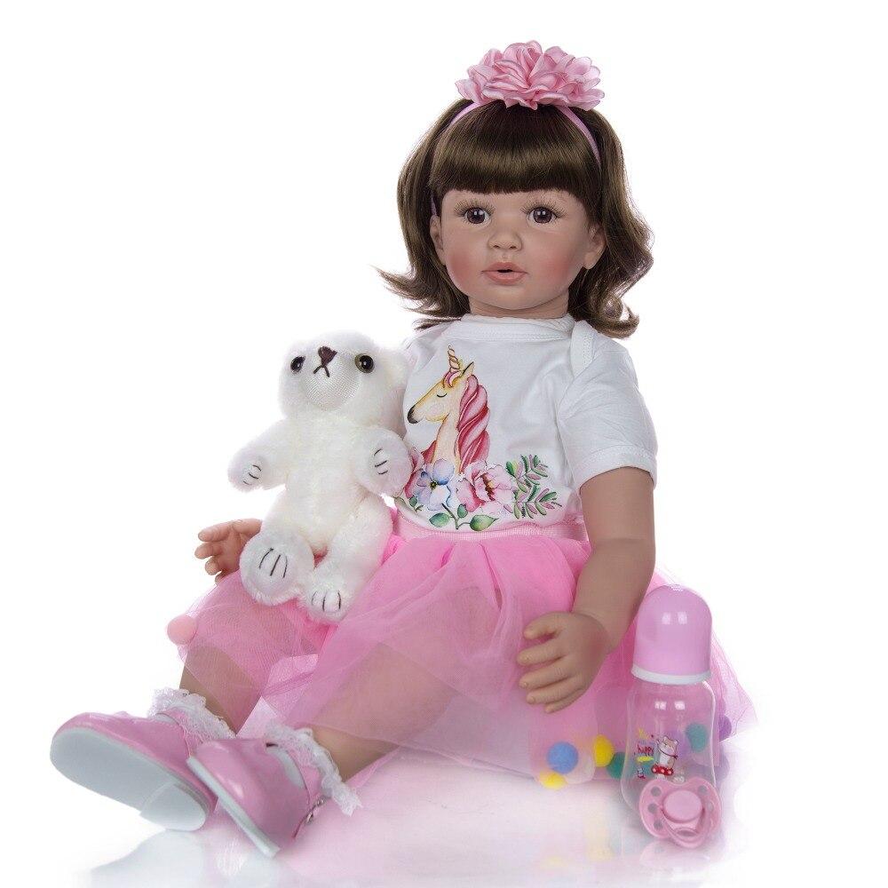 Boneca Reborn 24 pouces Silicone souple vinyle poupée 60cm bebes renaître enfant en bas âge fille nouveau-né réaliste enfant cadeau jouets