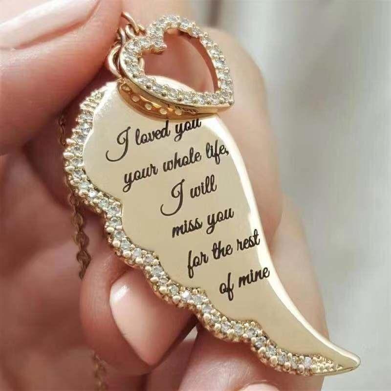Винтажное ожерелье с подвеской в виде крыльев Ангела и сердца